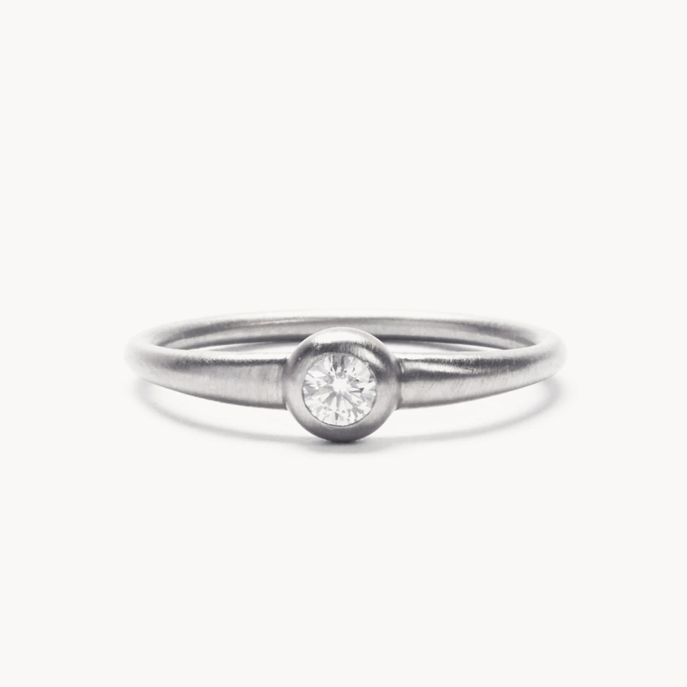 Stackable Single Diamond White Gold Ring Zarig Jewelry